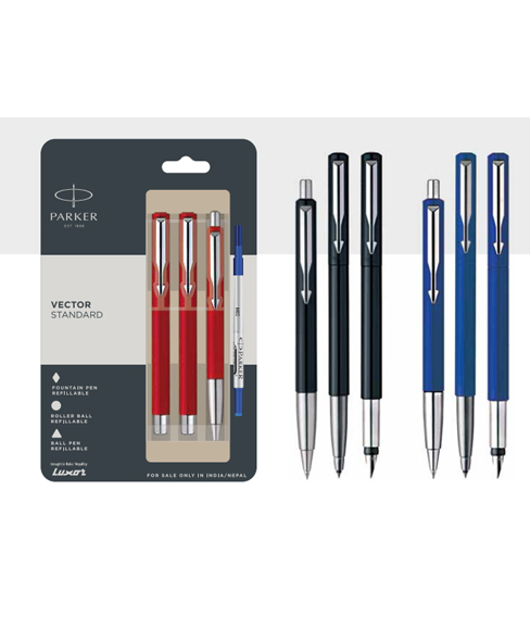 Parker Vector Ball Pen Roller Ball Pen With Stainless Steel Trim Authorized Wholesaler Retailer Bulk Order Buy Shop Online Supplier Dealers In Kerala South India