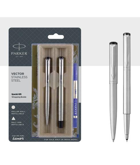 Parker Vector Ball Pen Roller Ball Pen With Stainless Steel Trim Authorized Wholesaler Retailer Bulk Order Buy Shop Online Supplier Dealers In Kerala South India