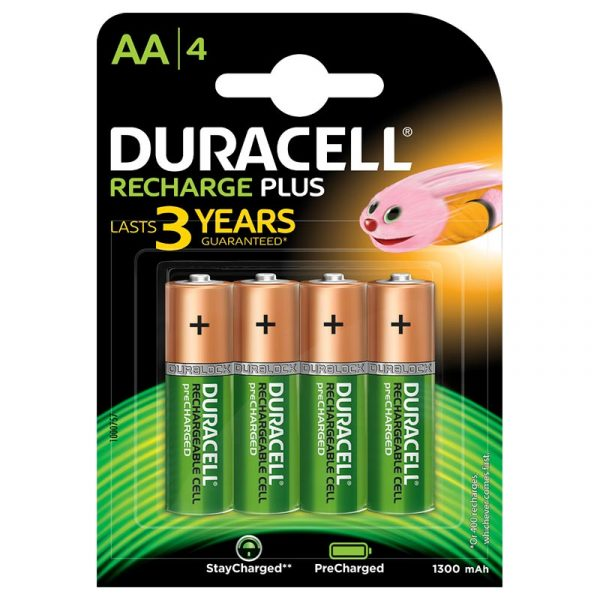 Duracell Recharge Plus- Green Rechargeable AA Batteries 1300 MAH with Duralock - Pack of 4 Pieces SKU: 5000174 Authorized Distributors Wholesaler Exporter Shop Buy Online Supplier Best Lowest Price Dealers In Kerala South India